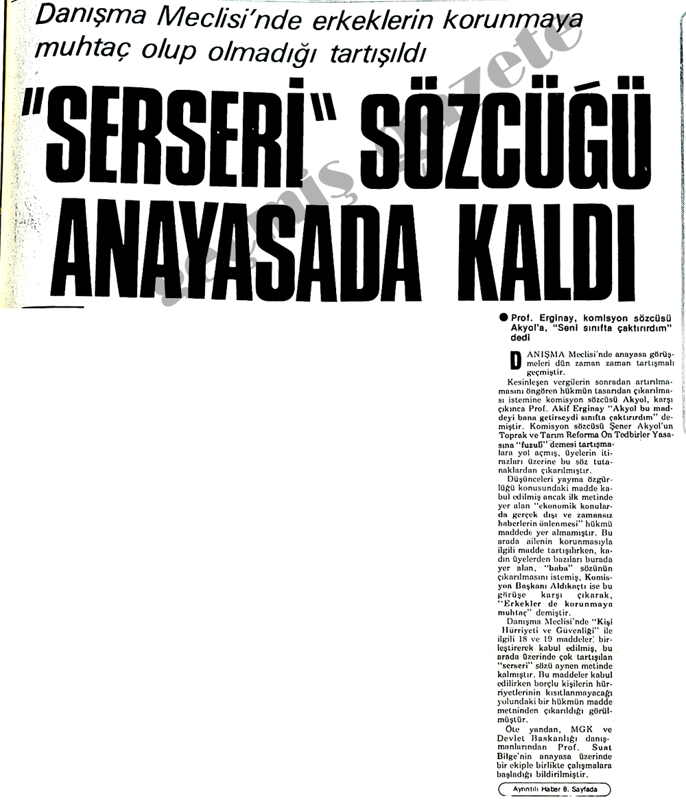 """Serseri"" sözcüğü anayasada kaldı"