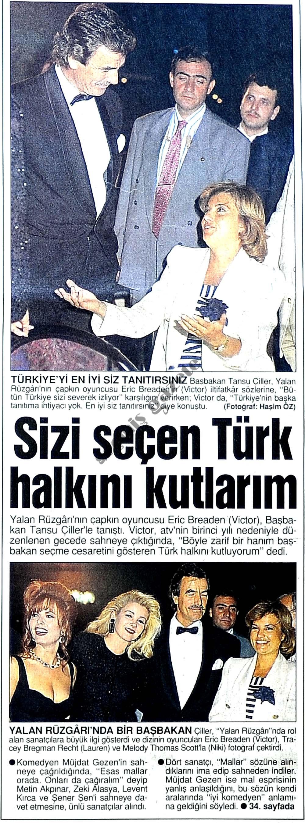 Sizi seçen Türk halkını kutlarım