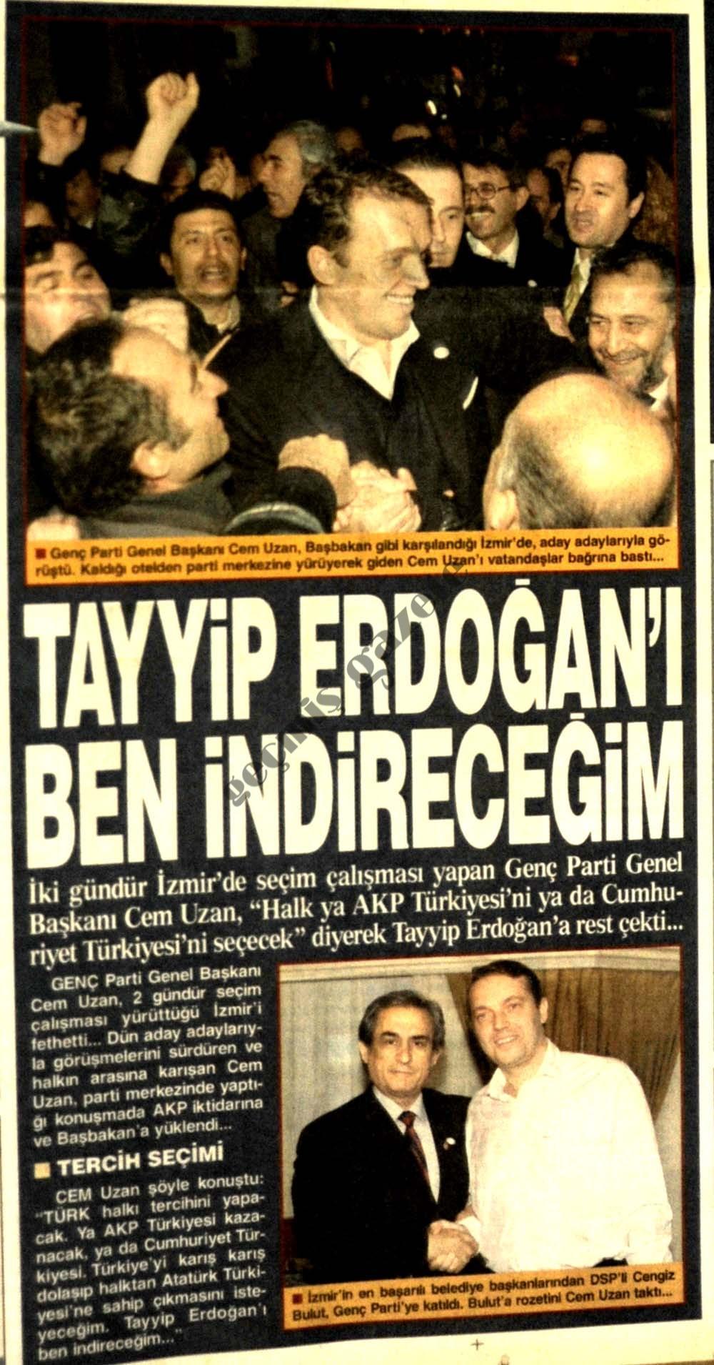 Tayyip Erdoğan'ı ben indireceğim
