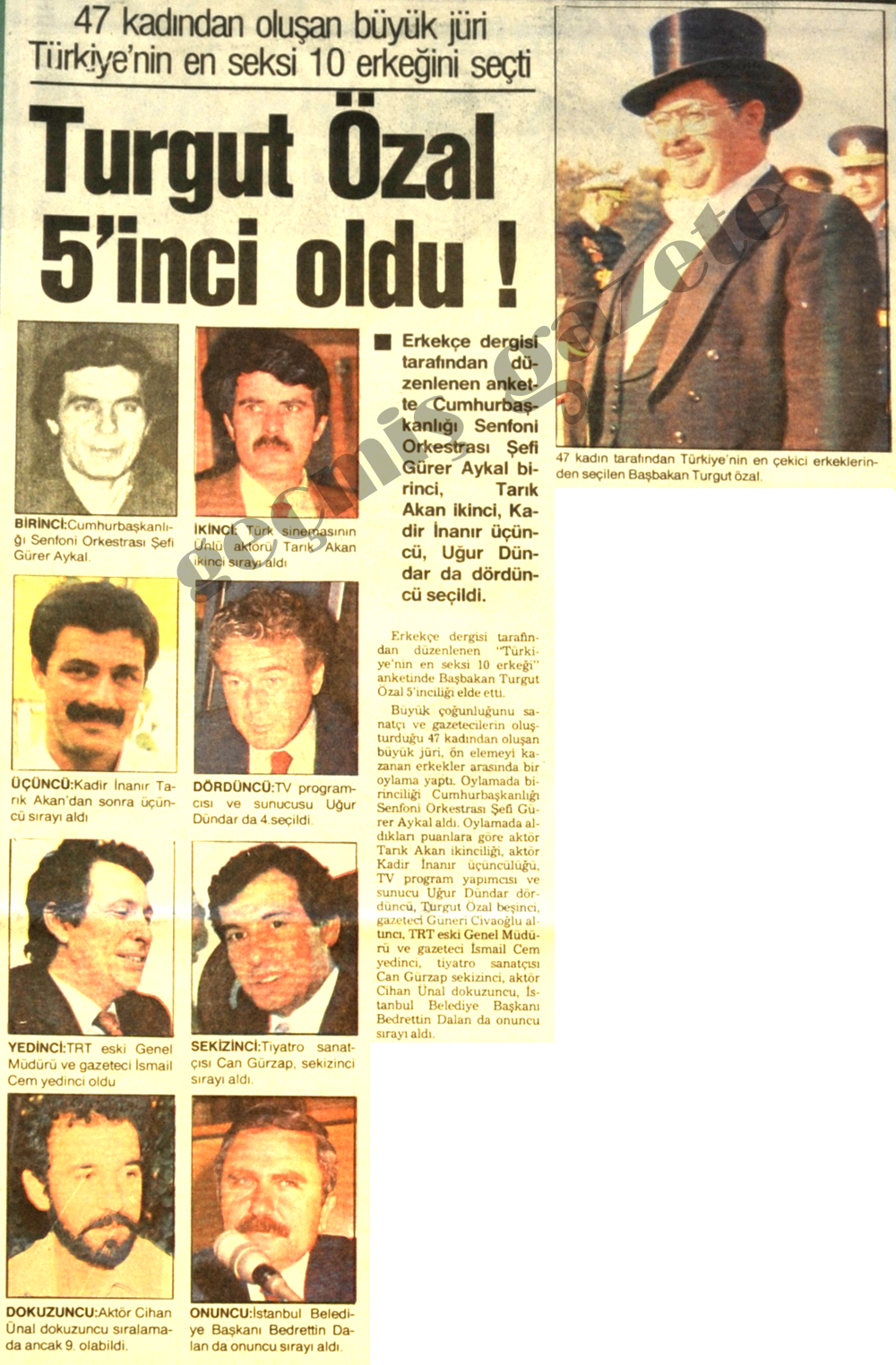Turgut Özal 5'inci oldu!