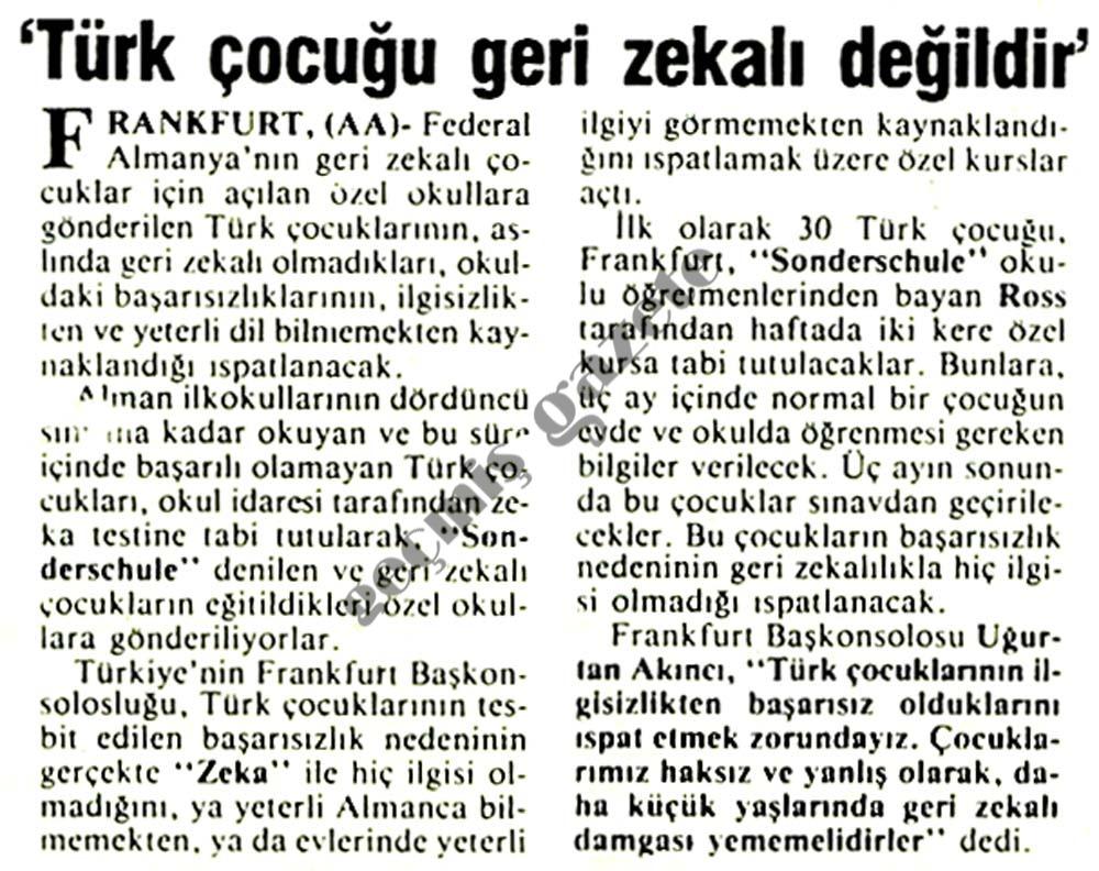 Türk çocuğu geri zekalı değildir