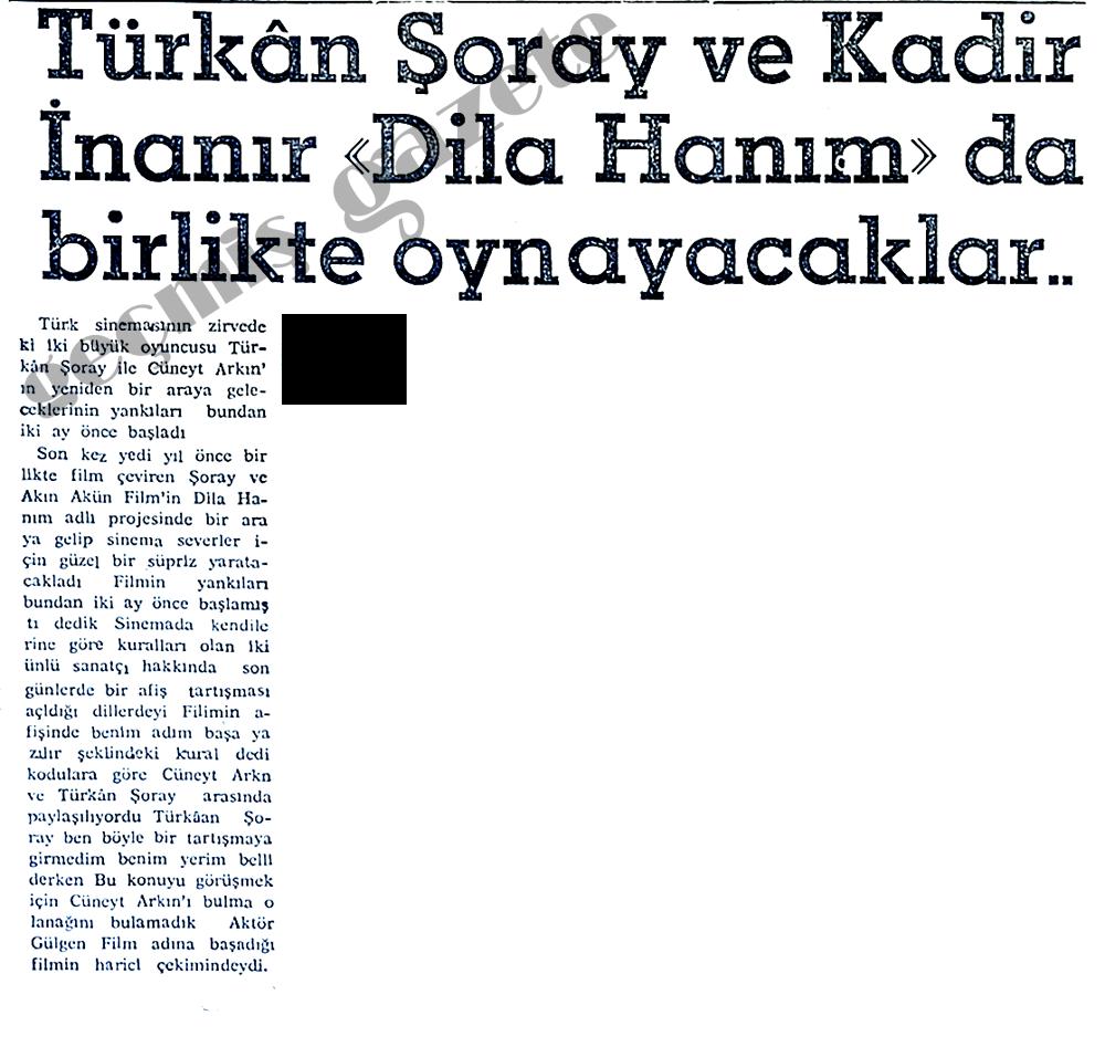 """Türkan Şoray ve Kadir İnanır """"Dila Hanım""""da birlikte oynayacaklar"""