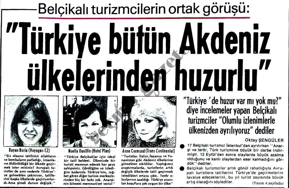 Türkiye bütün Akdeniz ülkelerinden huzurlu