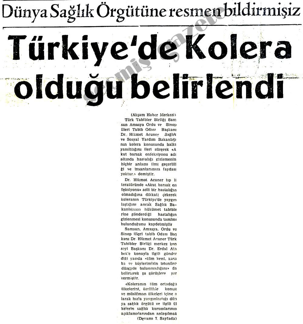 Türkiye'de Kolera olduğu belirlendi