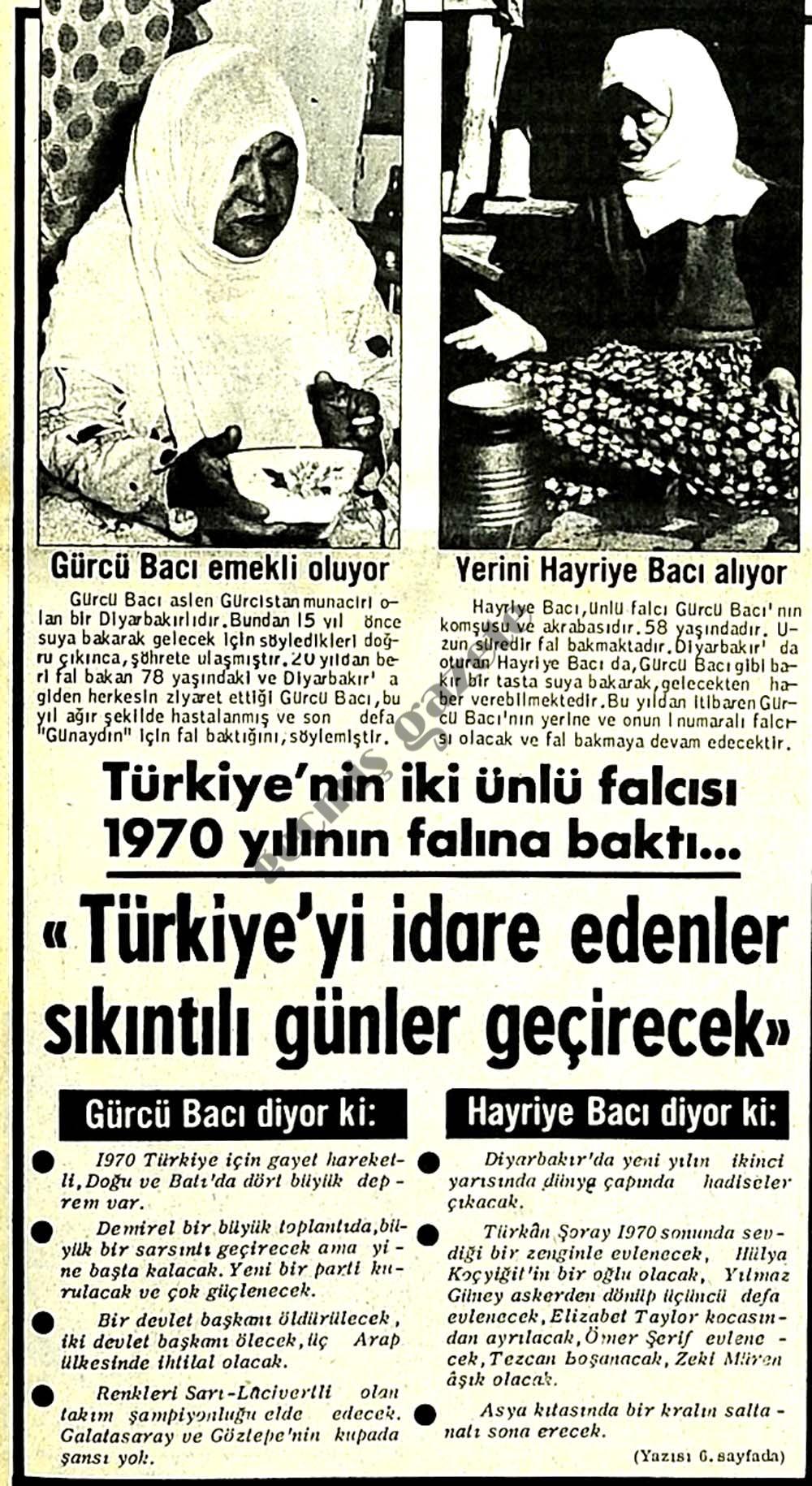 Türkiye'nin iki ünlü falcısı 1970 yılının falına baktı