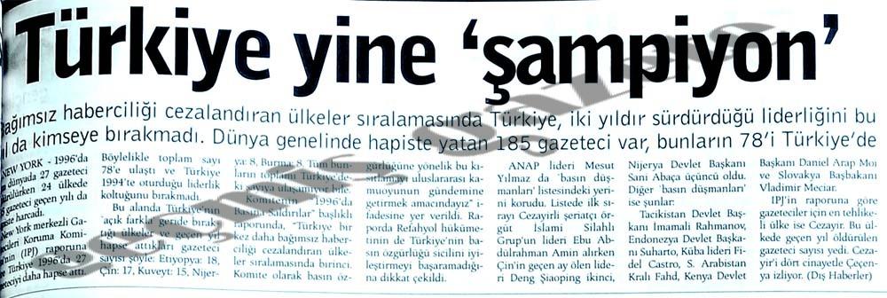 Türkiye yine 'şampiyon'