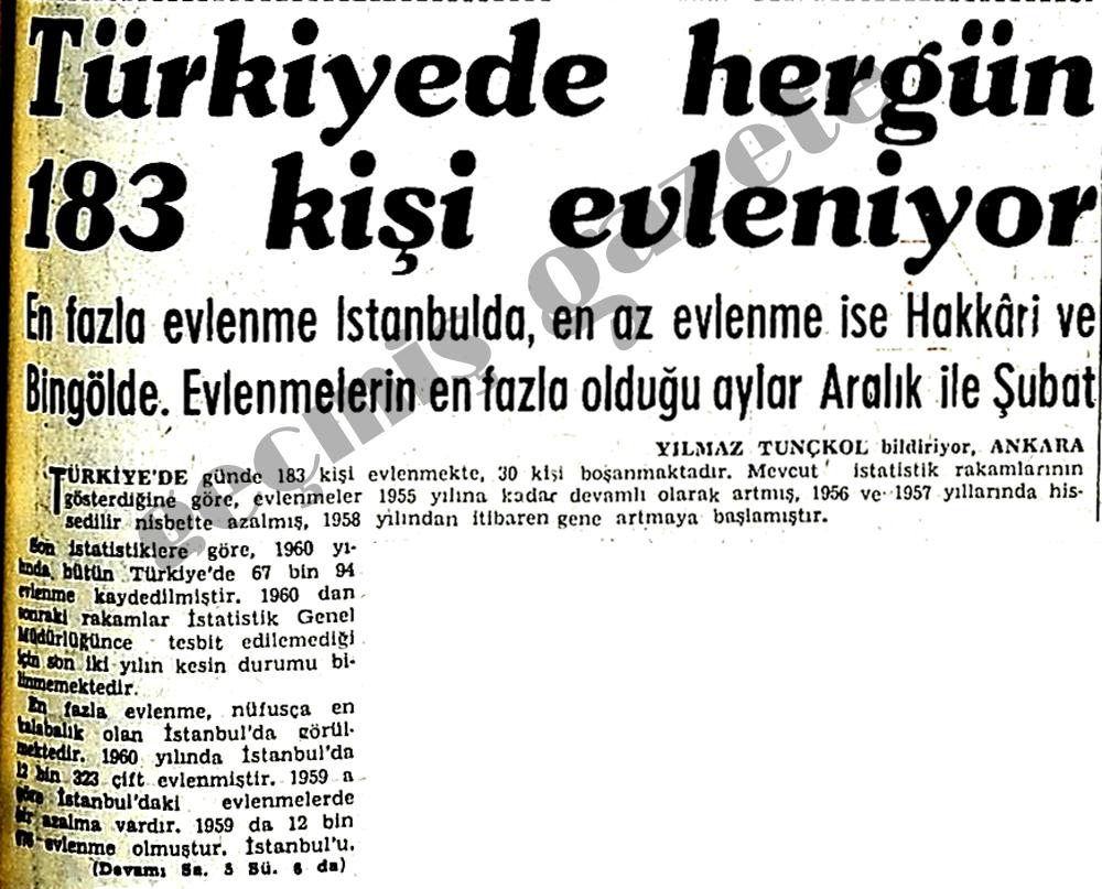 Türkiyede hergün 183 kişi evleniyor