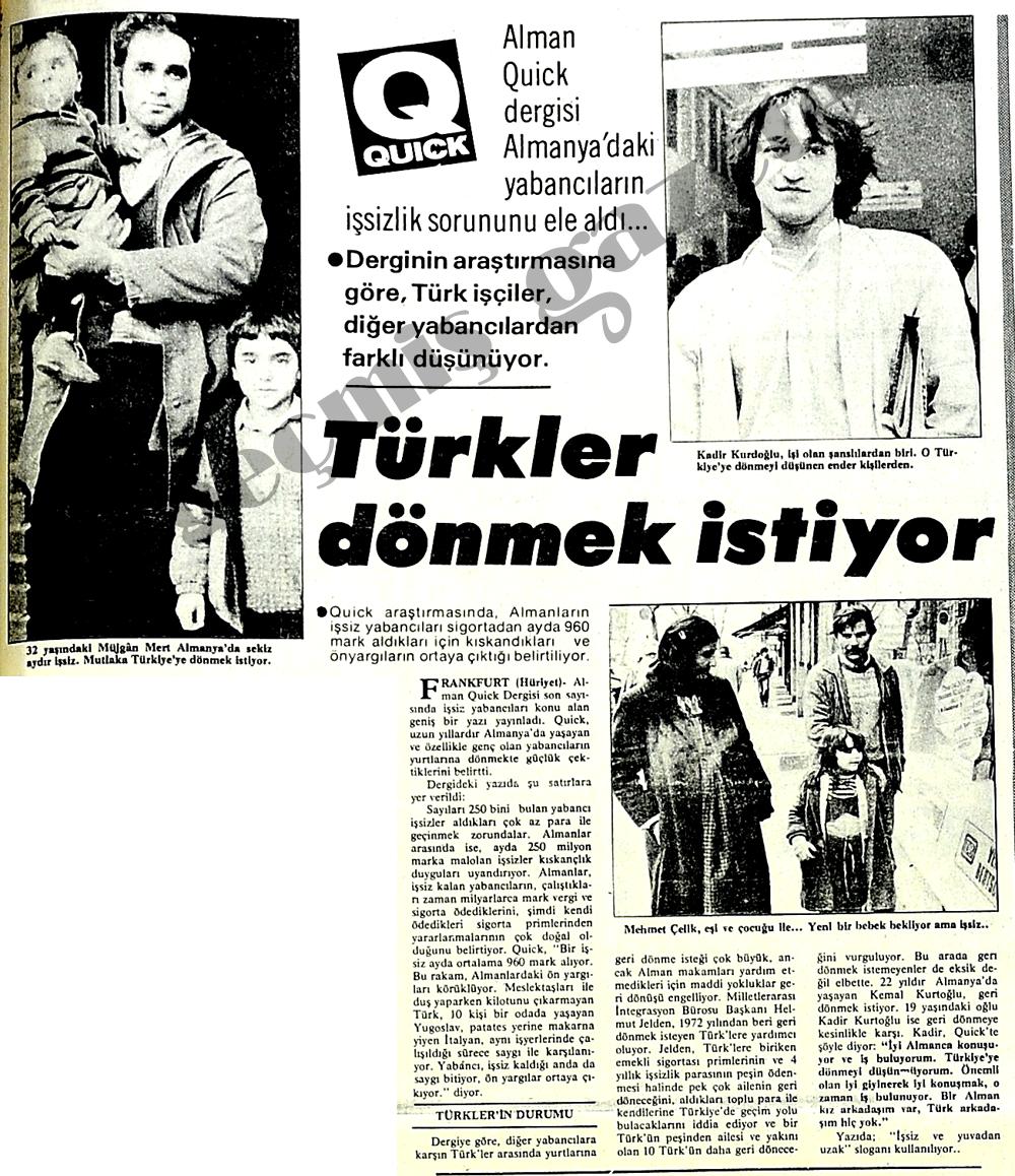 Türkler dönmek istiyor