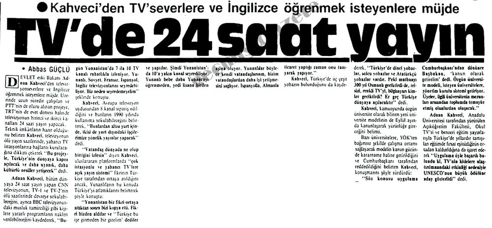TV'de 24 saat yayın