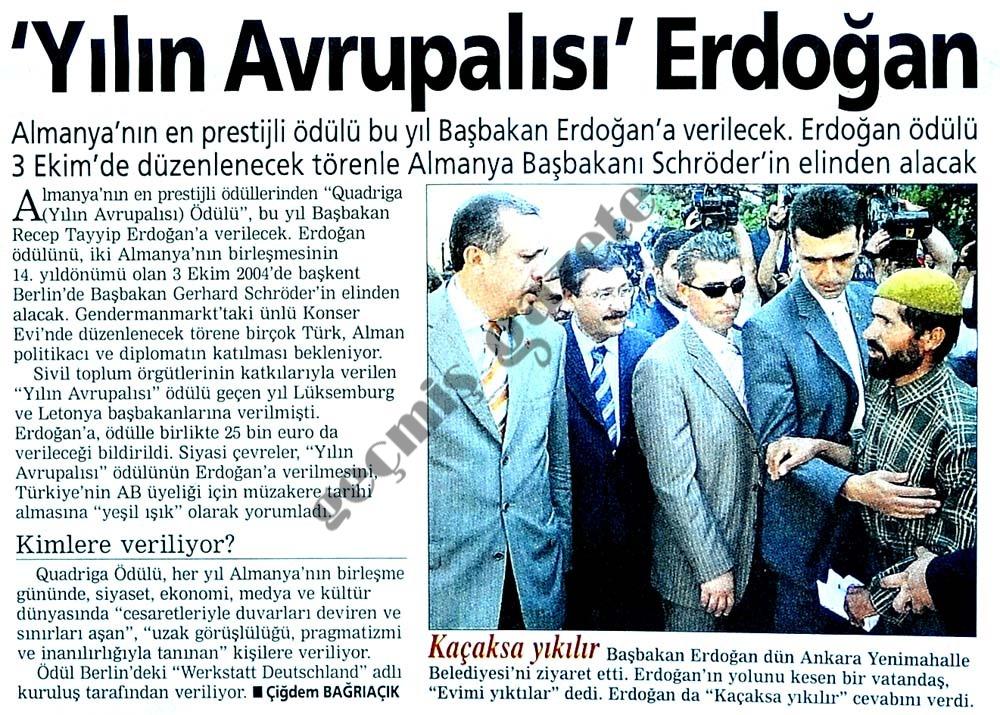 'Yılın Avrupalısı' Erdoğan