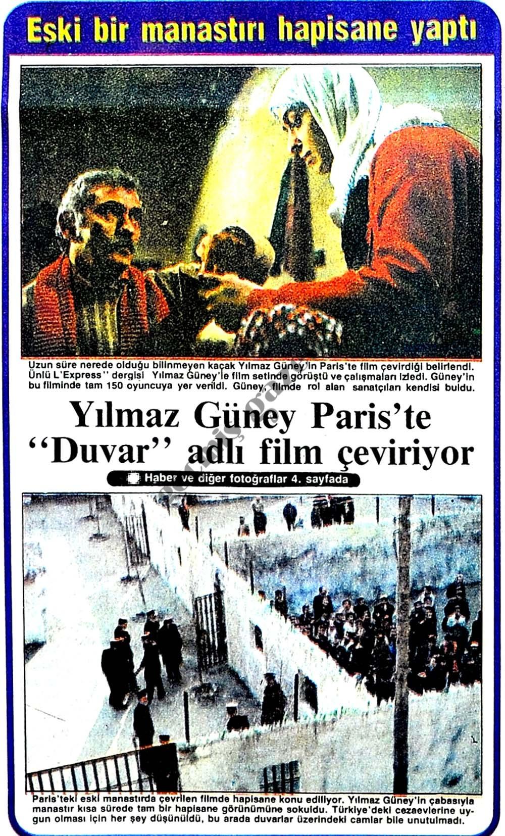 """Yılmaz Güney Paris'te """"Duvar"""" adlı film çeviriyor"""