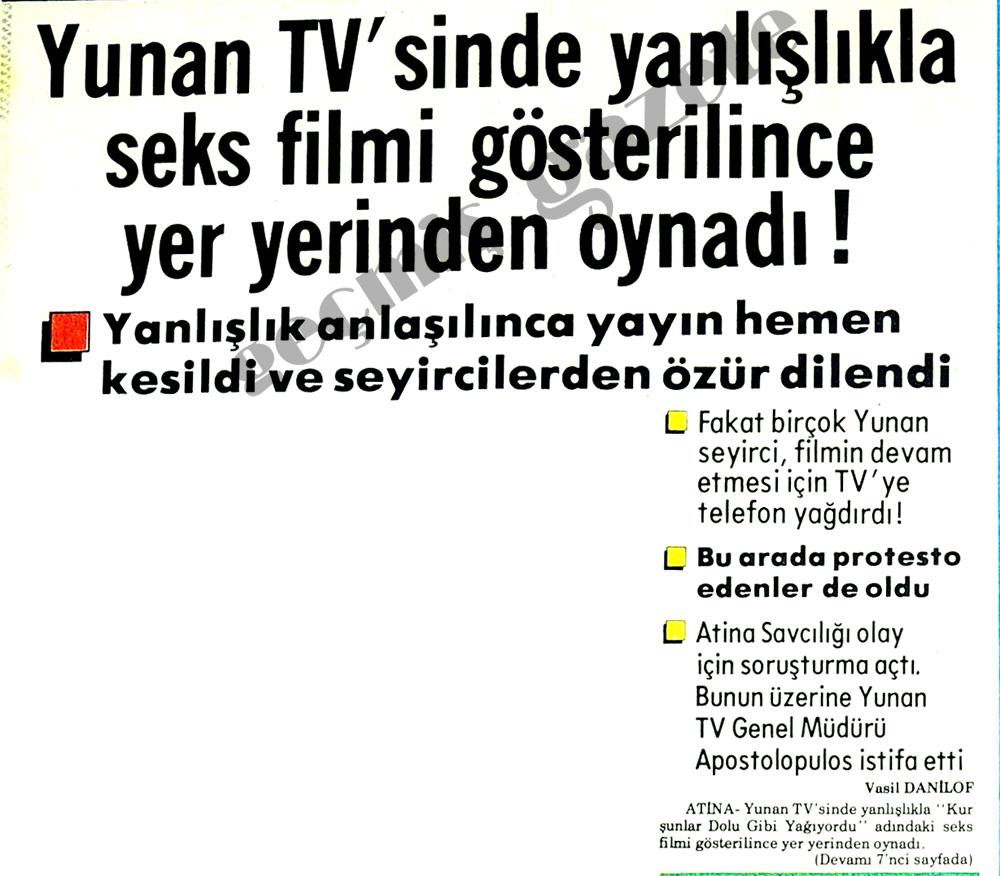 Yunan TV'sinde yanlışlıkla seks filmi gösterilince yer yerinden oynadı!