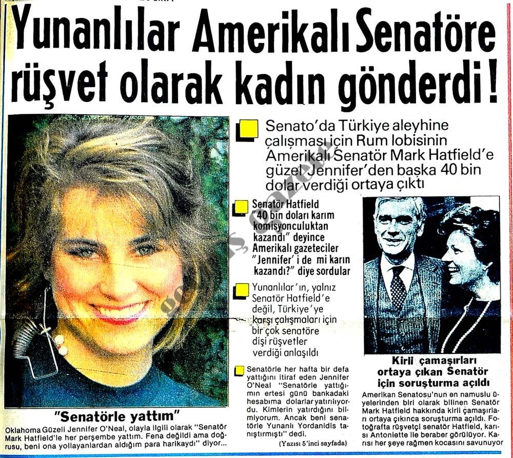Yunanlılar Amerikalı Senatöre rüşvet olarak kadın gönderdi !