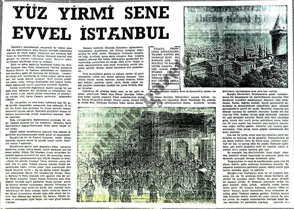 Yüz yirmi sene evvel İstanbul